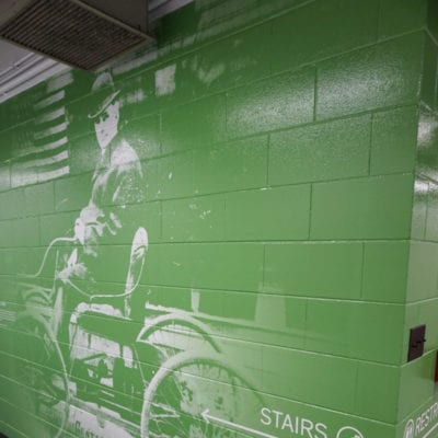 Creative Vertical Green Concrete Wall Graphic Printed and Installed by Cushing