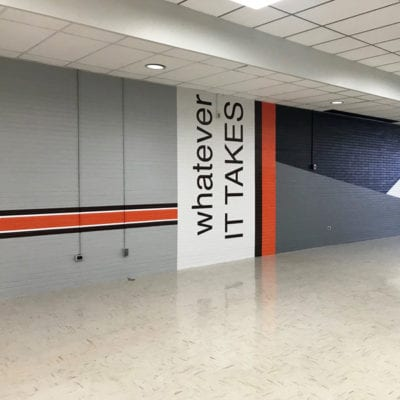 Wall Graphics With School Spirit Messaging
