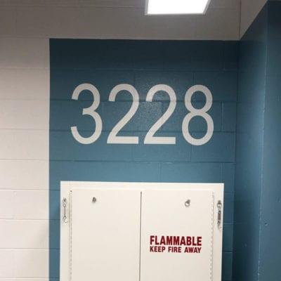 Number Decals Installed in Storage Closet