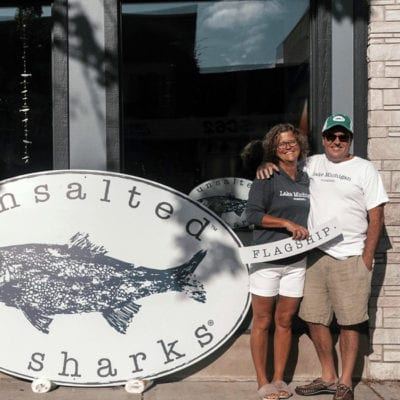 Unsalted No Sharks Team Before Signage Installation