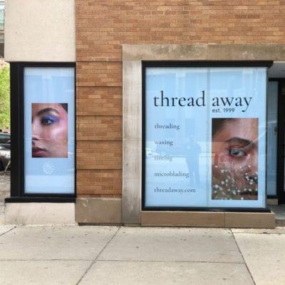 Window Signage for Threading Salon
