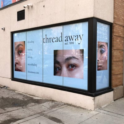 Window Graphics Display for Threading Salon