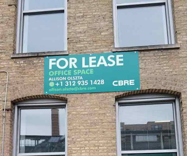Commercial For Lease Sign for CBRE in Chicago