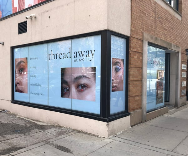 Window Signage Installed at Threadaway Salon.