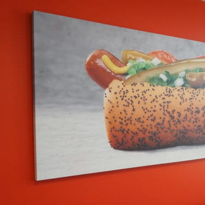 Canvas Print of Hot Dog Installed in Portillo's Conference Room