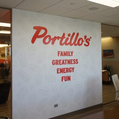 Three Dimensional Lettering in Portillo's Conference Room