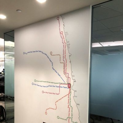 Side View of Map Wall Graphics