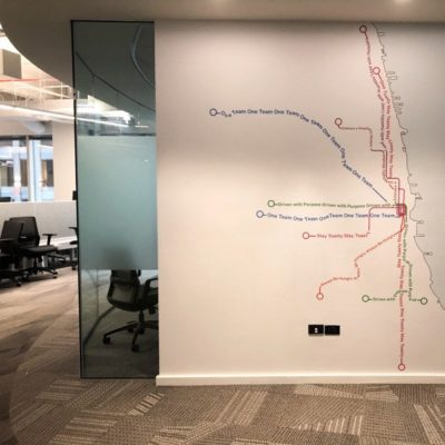 Map Wall Graphics Behind Conference Room at Toast