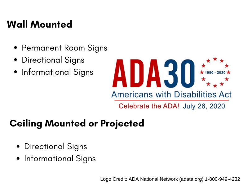 ADA Signage Covered Under the American Disabilities Act.