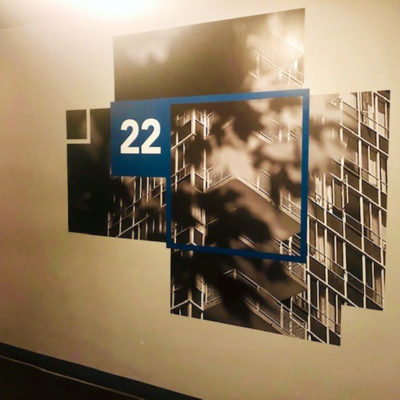 Graphics Remind Residences and Guests Which Floor They Are On.