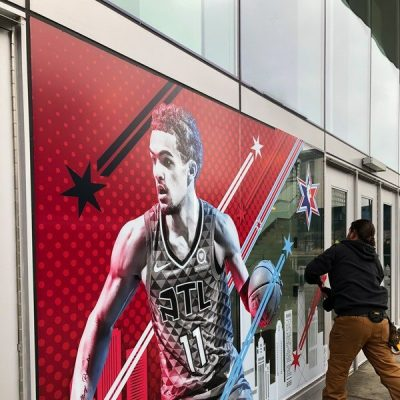 Window Signage Installed for NBA All Star Game.