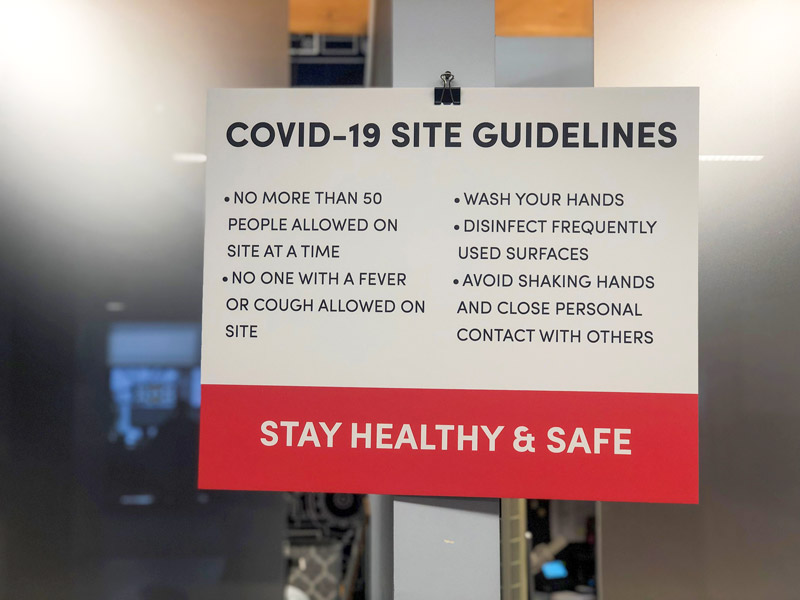 10 Measures Cushing Uses to Combat COVID-19 in the Workplace 8 Reminder Signage 1