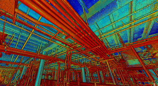 Laser Scanning Reveals piping and mechanicals in a room.