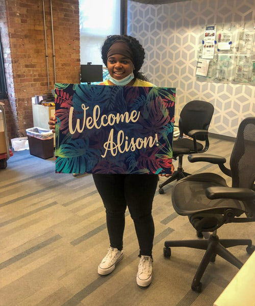 Life as an intern at cushing 3 ali spann with welcome sign
